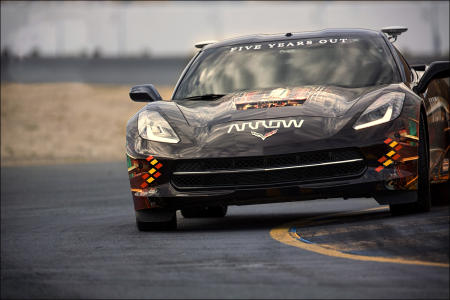 Sam Schmidt pilots the 2014 Chevy Corvette around the 2.5-mile road course at Sonoma Raceway. The California course features 12 turns on hilly terrain with 160 feet of total elevation change.