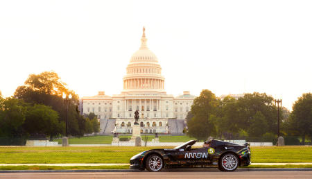 The Capitol provides a perfect backdrop for the SAM car at sunrise, as Sam and Savannah prepare for their drive through the streets of Washington D.C.