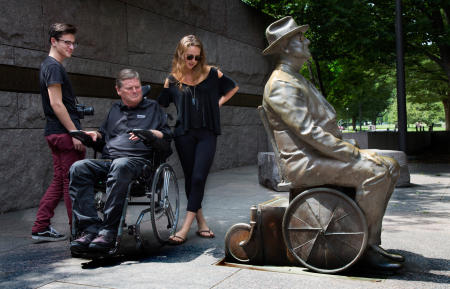 The Franklin Delano Roosevelt Memorial had special importance to Sam, along with his kids Savannah and Spencer.