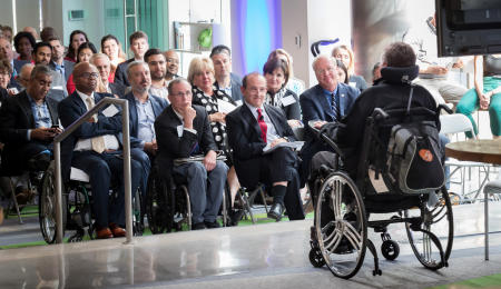 The trip to Washington, D.C. was more than just sightseeing for Sam. Here, Sam speaks to technology and policy leaders about how adaptive technologies like the SAM car can improve the lives of our our nations wounded warrior community.