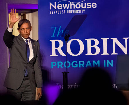 President Barack Obama arrives for the annual Robin Toner Awards, honoring the late journalist Robin Toner. He spoke about the importance of a free press.