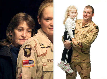 A selection from Faces of Heroes, a collection of portraits of soldiers who served in Afghanistan and Iraq that were displayed on Capitol Hill and the Pentagon.