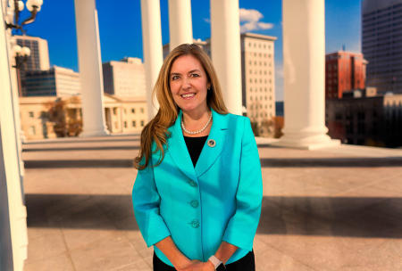 Representative Jennifer Wexton, Democrat of Virginia photographed outside the State House in Richmond.